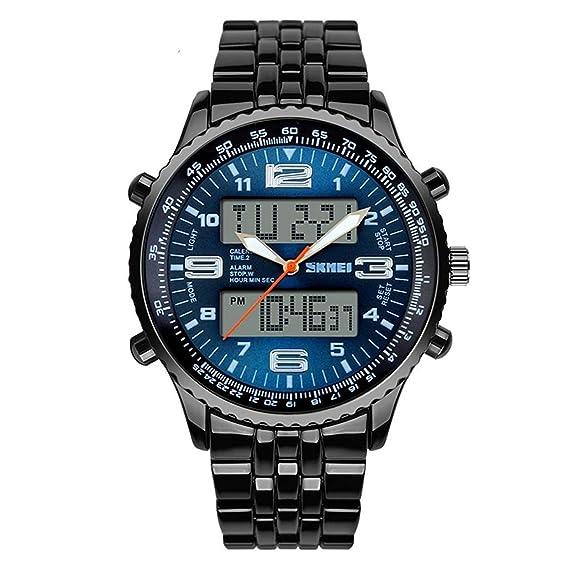 Relojes deportivos de hombre, multifunción, impermeable, a LED, analógico, de cuarzo digital con cronómetro, iluminación de aviso de fecha: Amazon.es: ...