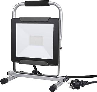 Electraline 63430 Proiettore Faretto LED su Piede, 30 W, Leggero Cavo 1.5 m Impermeabile IP65. Ideale per Lavori all'Esterno o Feste e Barbeque in Giardino Grigio