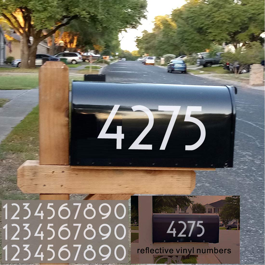 Diggoo Reflective Mailbox Numbers Sticker Decal Die Cut Uzbek Style Vinyl Number 4 Self Adhesive 2 Sets for Mailbox Signs Cars Trucks Door Window Home Address Number Business
