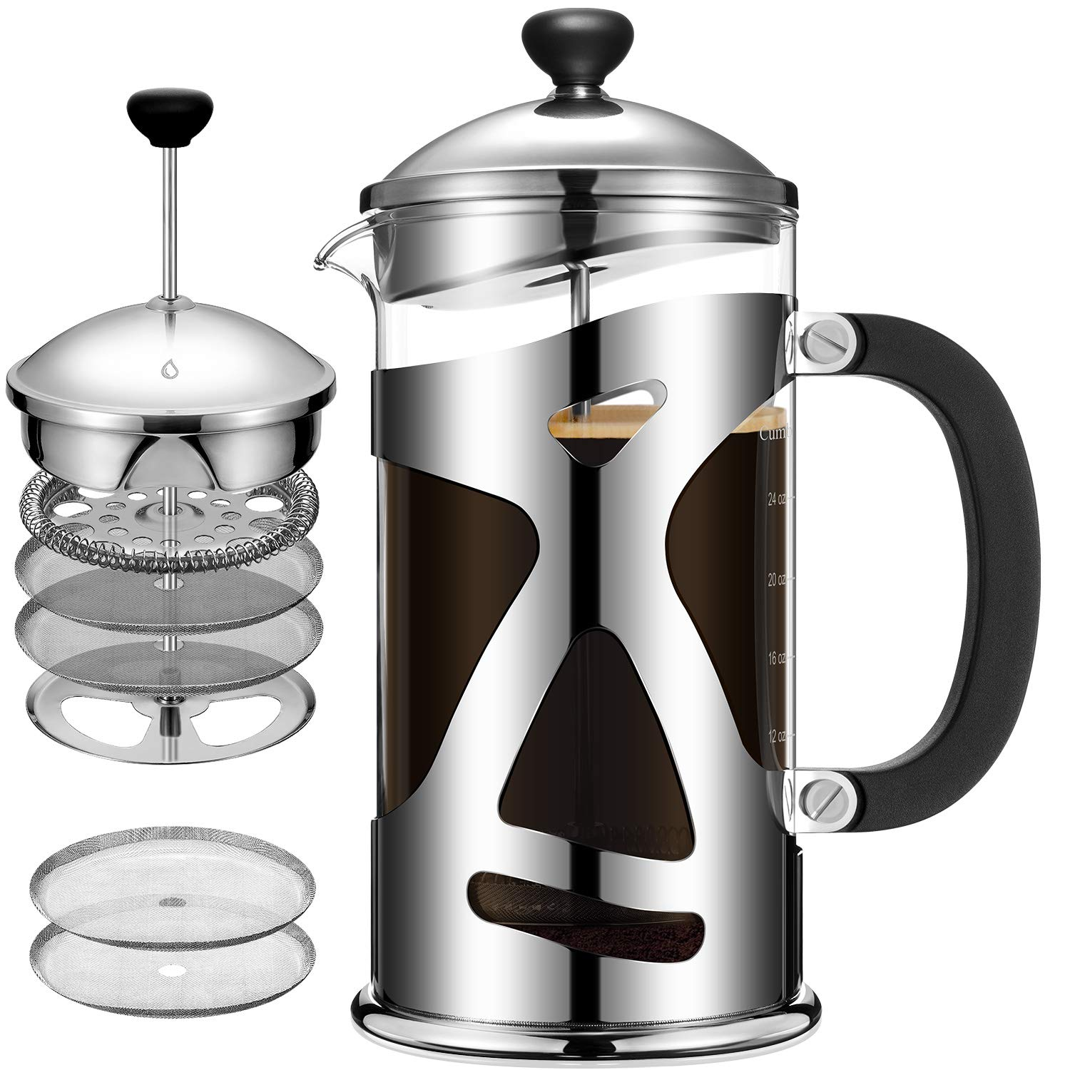 Cumbor French Press Coffee Maker 34oz , Durable Stainless Steel Coffee Press with 4 Filter Screens, Easy Clean, Heat Resistant Borosilicate Thicker Glass – 100 BPA Free