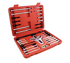 Auto Body Now ABN Harmonic Balancer Puller 46-Piece Tool Kit – Flywheel Remover, Crankshaft Pulley Removal, Steering Wheel Pulling Set