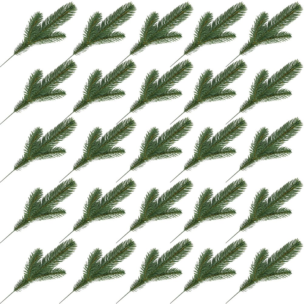 Yarssir 25pcs Artificial Pine Green Leaves Needle Garland Christmas Embellishing Home Garden Decor, 11x4.7 inches(Green-25 Pack) by Yarssir