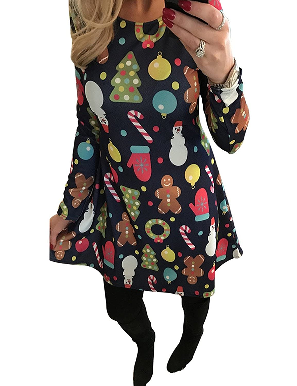 Minetom Mujeres Niñas Navidad Vestido Blusas Mangas Largas Ropa Impresión Calabaza Nieve Camiseta Camisa Tapas Ocasionales Swing Dress: Amazon.es: Ropa y ...