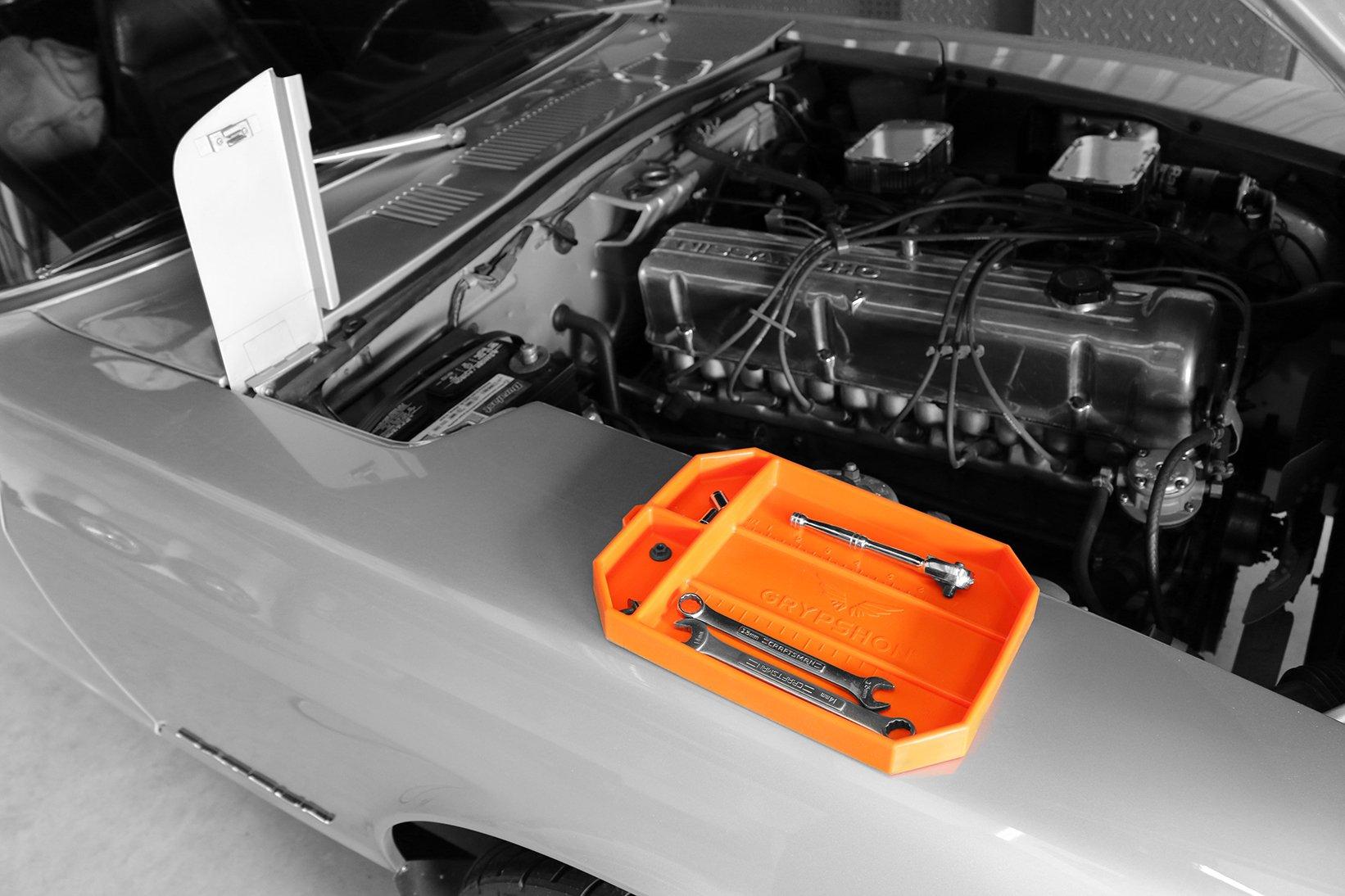 Grypmat | Non-Slip Flexible Orange Tool Tray | Tool Box Organizer | Socket Organizer | Tool Holder | Tool Mats | No Magnets | Easy Clean Up | As Seen On Shark Tank (Medium) by Grypshon (Image #3)