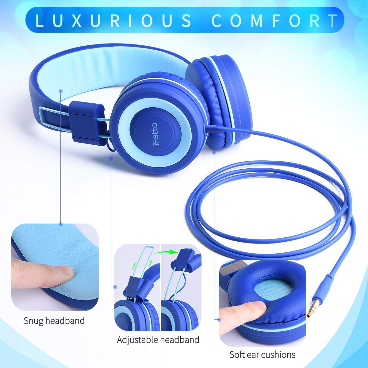 Ifecco Kids Headphones, Wired On Ear Headphones Foldable Adjustable Over Ear Headsets 3.5mmm Aux Jack Children's Headphones for School Home and Travel, Blue