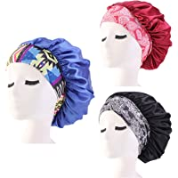 Goblinaduo 3pcs Satin Bonnet Night Sleep Cap Elastic Hair Wrap Cap Sleep Bonnet Hat Head Cover for Sleep