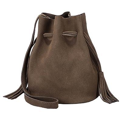 85c3cc1ab115 Aisa Women Drawstring Barrel Shoulder Bag Faux Suede Leather Bucket Style  Solid Crossbody Bag Grey