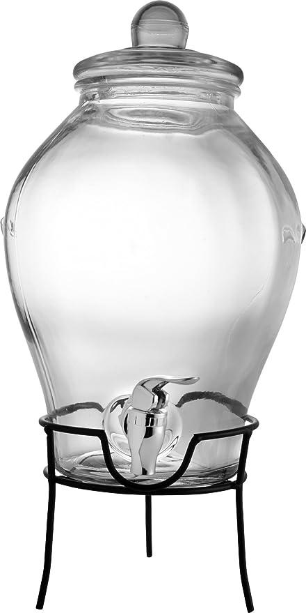 Dispensador de bebidas de vidrio - 6 litros capacidad - dispensador de plástico - con estructura