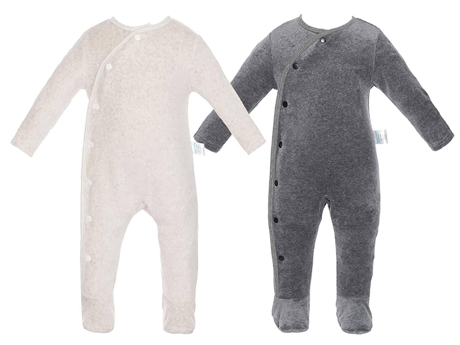 2 Pack Baby Boy Footies Romper, Long Sleeves NewBorn Toddler Bodysuit, Warm Infant Outfit