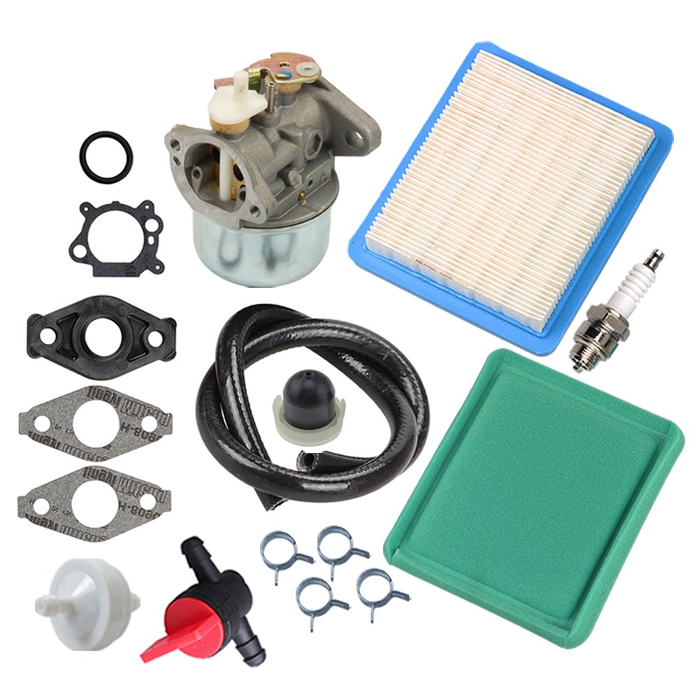 Panari 799869 Carburetor + Tune Up Kit Air Filter Fuel Valve for Briggs and Stratton 499059 792253 497586 491588 491435S 694395