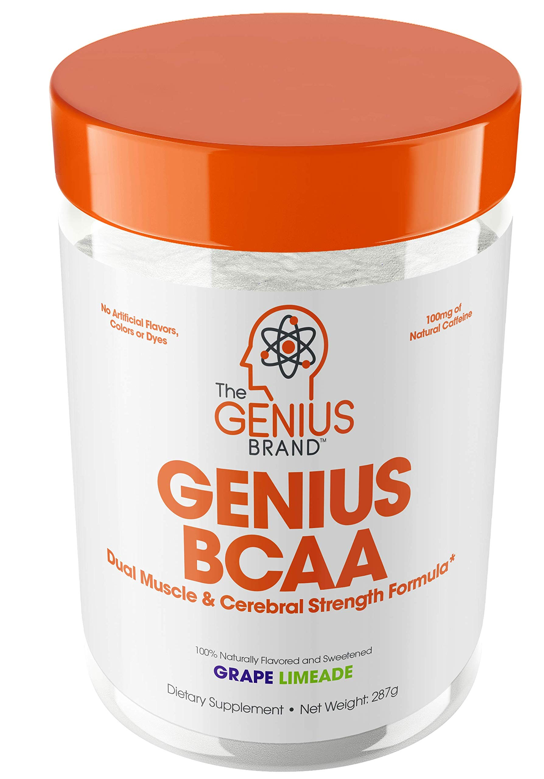 Genius BCAA Powder - Nootropic Amino Acids & Muscle Recovery Drink | Natural Vegan Energy BCAAs for Women & Men (Pre, Intra & Post Workout) | Natural Brain Boost & Focus Supplement, Grape Limeade,287