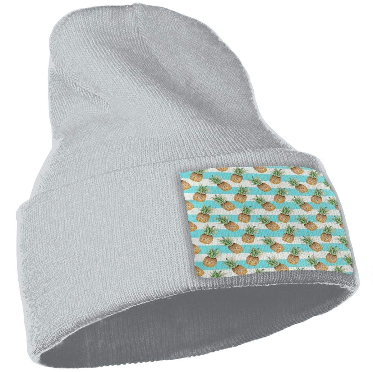 Pineapple and Striped Hat for Men and Women Winter Warm Hats Knit Slouchy Thick Skull Cap Black
