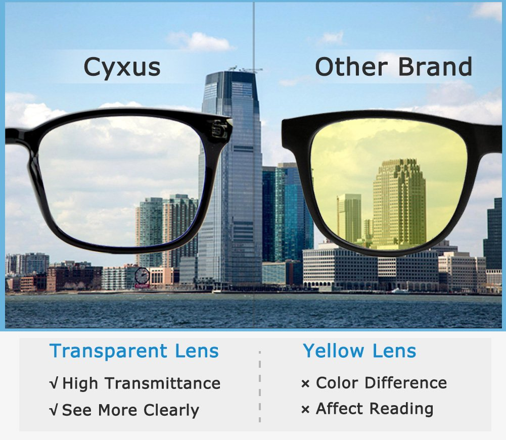 Cyxus Blue Light Filter Computer Glasses for Blocking UV Headache [Anti Eye Eyestrain] Transparent Lens, Unisex (Men/Women) (classic black) by Cyxus (Image #6)