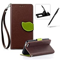 Strap Leather Case for iPhone 4S,Coffee Wallet Flip Cover for iPhone 4,Herzzer Classic Unique Magnetic Leaf Buckles Design Full Body Card Slots Stand Folio Synthetic Leather Case with Soft Silicone