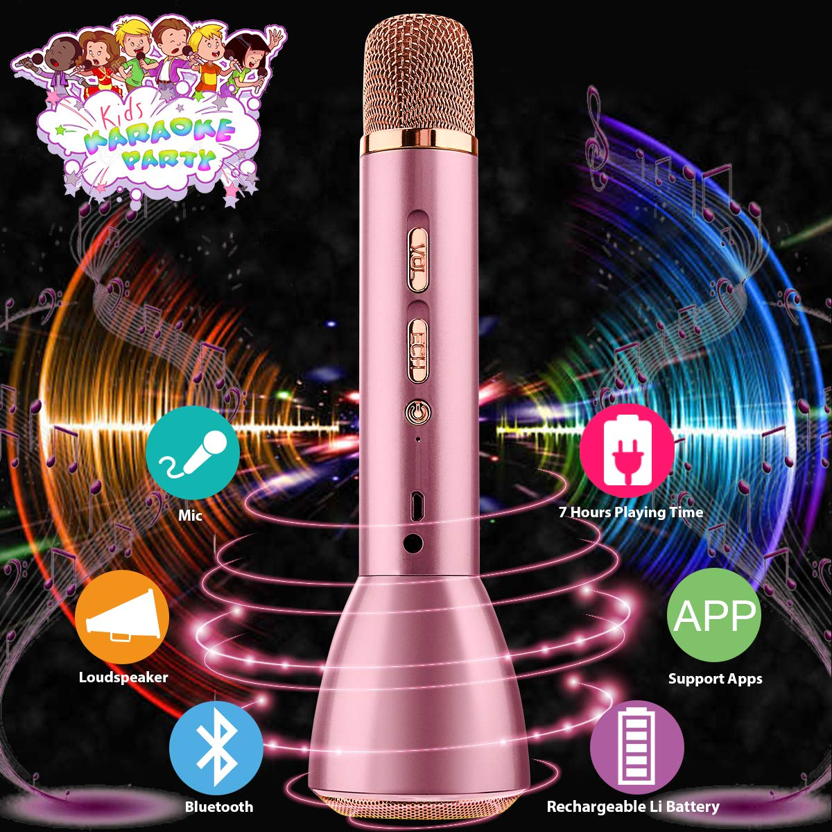 Karaoke Microphone for Kids, Kids Microphone Bluetooth With Speaker Wireless Echo Child Karaoke Mic Portable Cordless Singing Machine for Music Boys Girls Adult Party Gift Andriod IOS Phones(Pink) by Pasobass