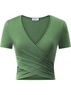 f74bd881bbb Women's Tops Short Sleeve Deep V Neck T Shirts Cross Wrap Cute Crop Tops