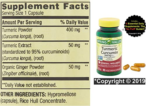 Tumeric Curcumin Supplement Capsules 500 mg 90 ct . No Fluff Supplement Guide . Max Strength Capsules to Target Inflammation