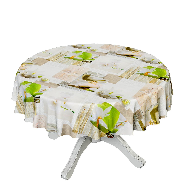 ANRO Hule mesa mantel de hule lavable Spa piedras Orquídeas tamaño ...