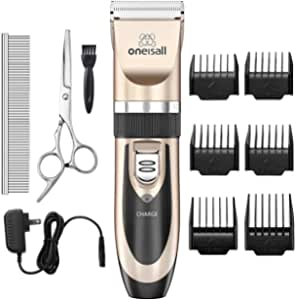 MQUPIN Dog Grooming Clippers Electric Pet Trimmer Low Noise Rechargeable Cordless Grooming Set for Dogs and Cats Hair Shaver with 4 Clippers Cleaning Brush and Oil