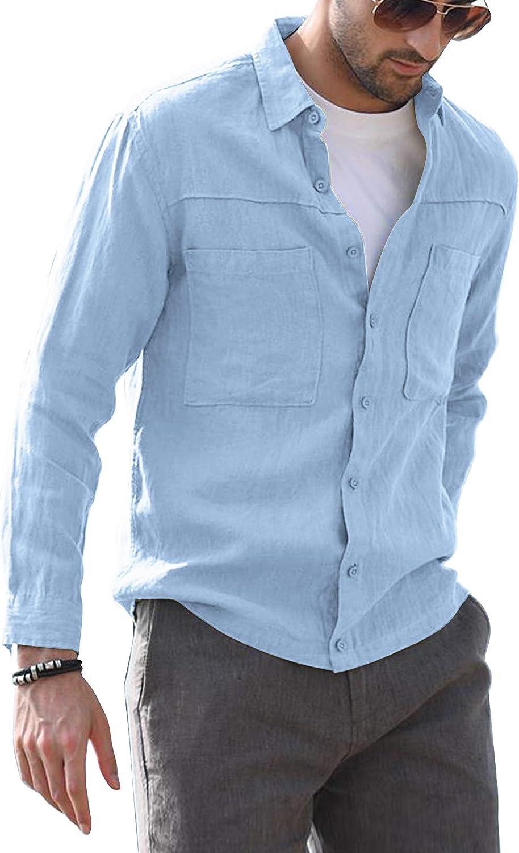 AUDATE Camisa de algodón para hombre, ajuste regular, con botones, para otoño e invierno, manga larga, informal, para hombre