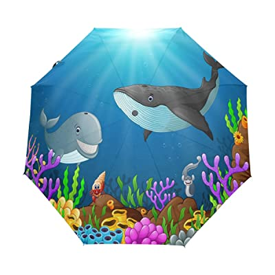 ALAZA Cute Whale Shark 3 Folds Auto Open Close Anti-UV Umbrella