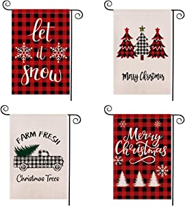 Yizeda 4Pack Merry Christmas Garden Plaid Flag Set Double-Sided Burlap Durable Winter Outside Decoration for Yard Outdoor Home Decor