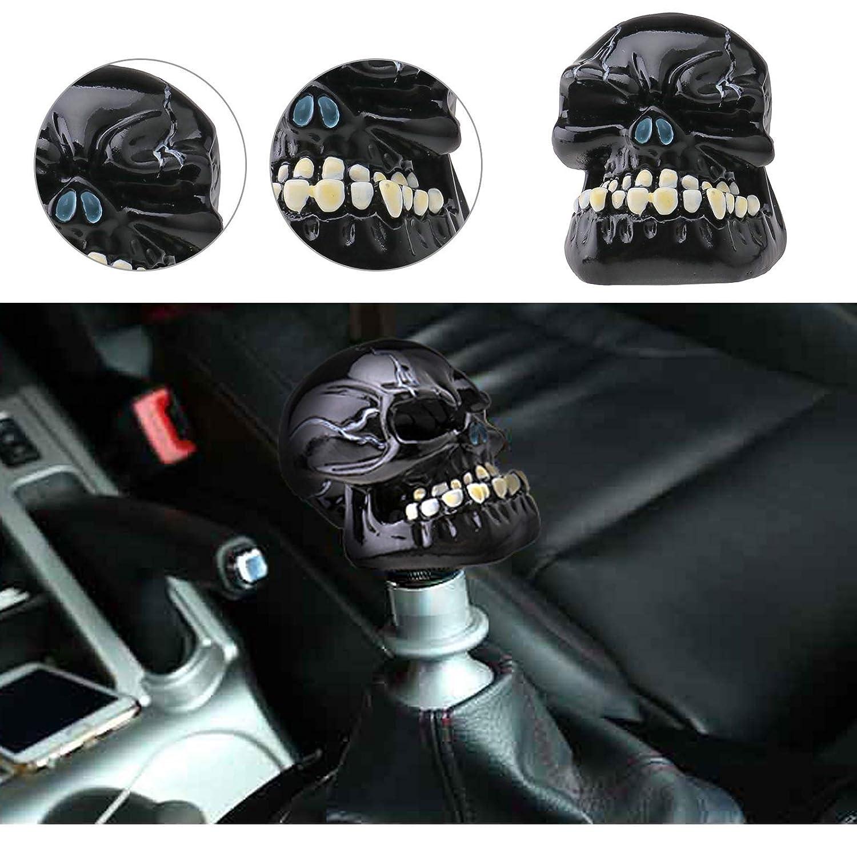 OTOTEC M8/M10/M12/Auto Nero Testa del Cranio pomello del Cambio Manuale Gear Stick Shifter Leva