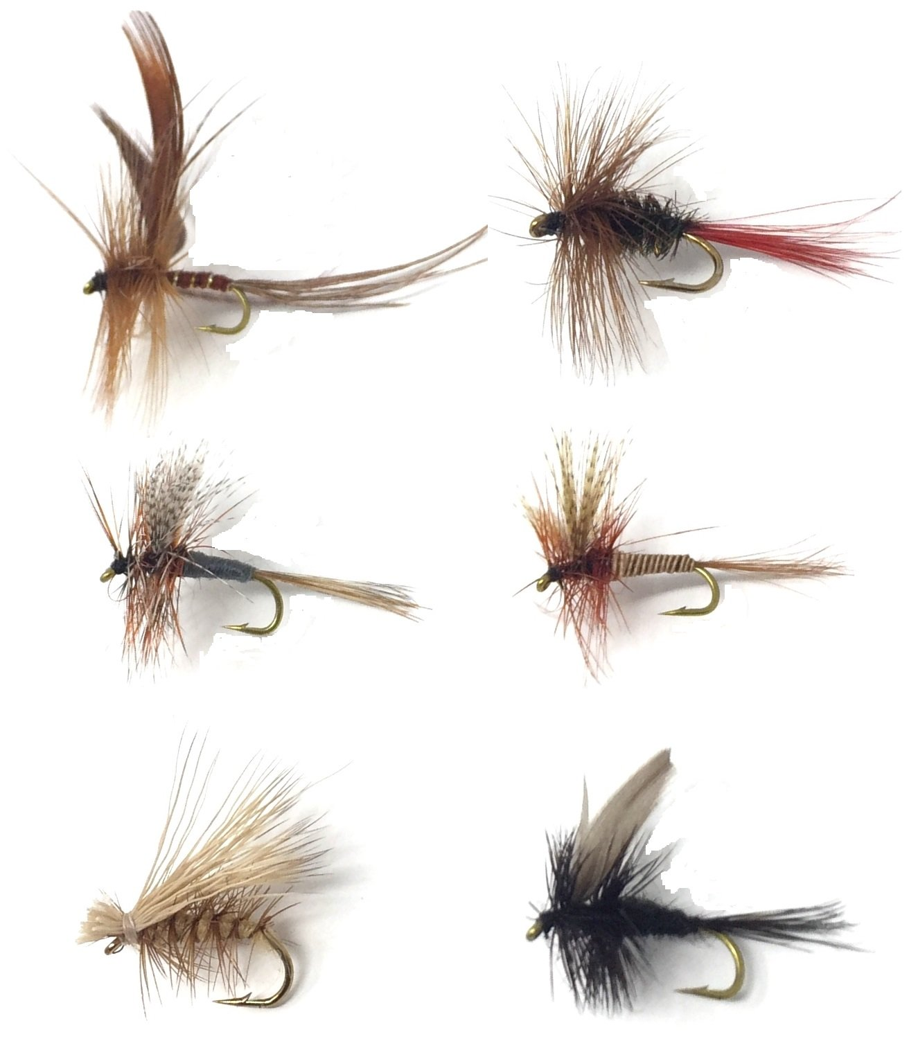 Feeder Creek Fly Fishing Trout Flies - Popular MAYFLIES - 18 Flies - 6 Patterns (3 of Each Size and Pattern) Red Quill, Elk Caddis Brown, Brown Hackle, Black Gnat, Grey Fox, Drake - Sizes 14-16