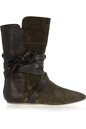 Cheap Items To Get Free Isabel Marant Ankle Boots Leather Suede Army Green Nira And