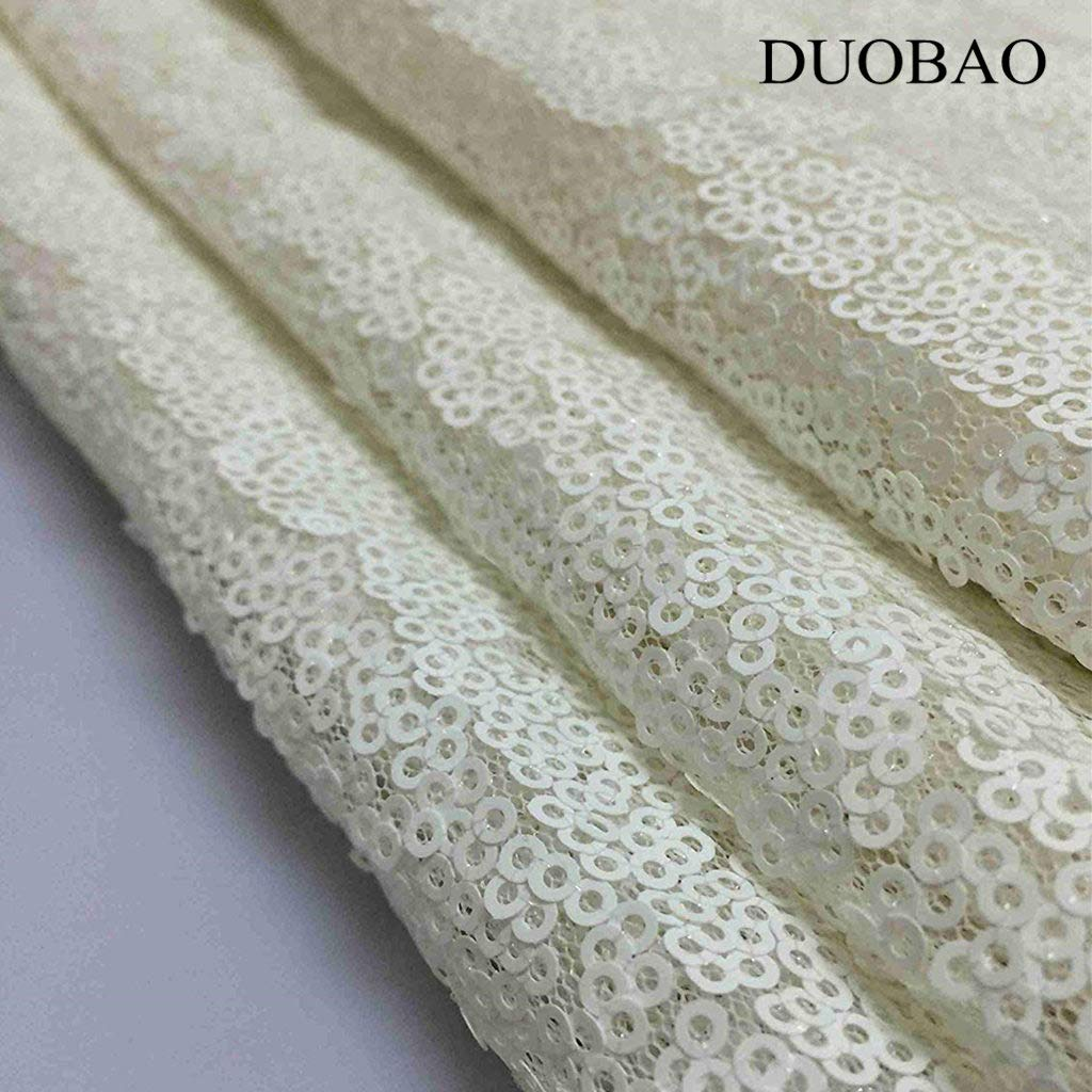 DUOBAO White Sequin Fabric for Sewing Glitter Backdrop White 10 Yards Sequin Material Fabric 2 Way Stretch Sequin Fabric by The Yard