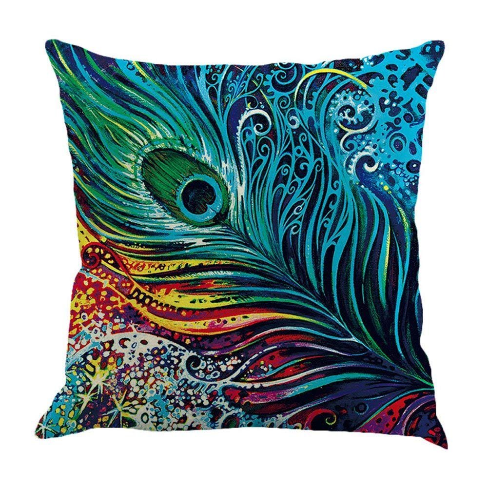 Qinqingo Colorful Peacock Feather Throw Pillow Case Cushion Cover Home Sofa Decor Pillowcases (PF#1)