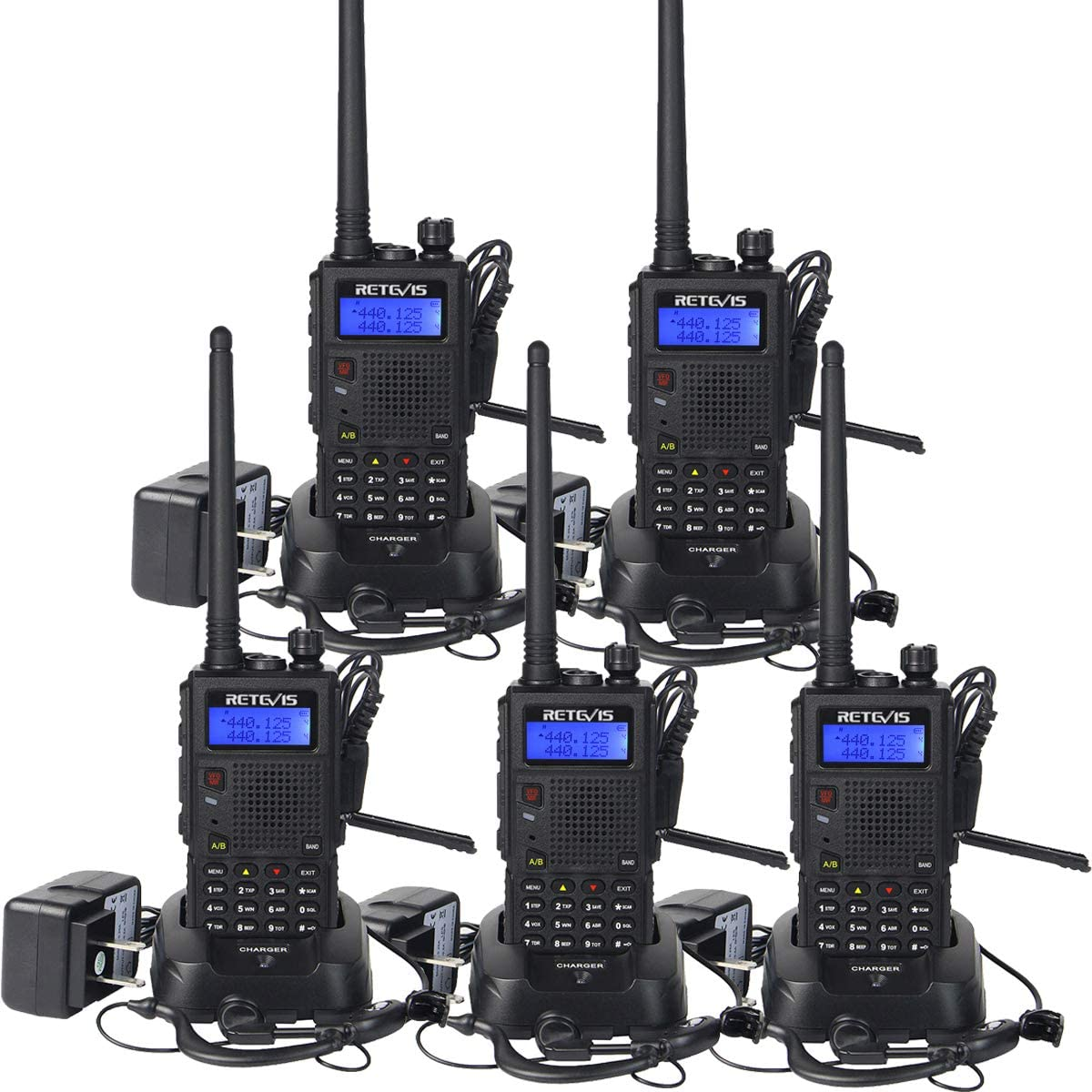 Retevis RT5 Two Way Radios 128 CH VHF UHF 2 Way Radios Hand Free Scan FM Walkie Takies 5 Pack with earpiece