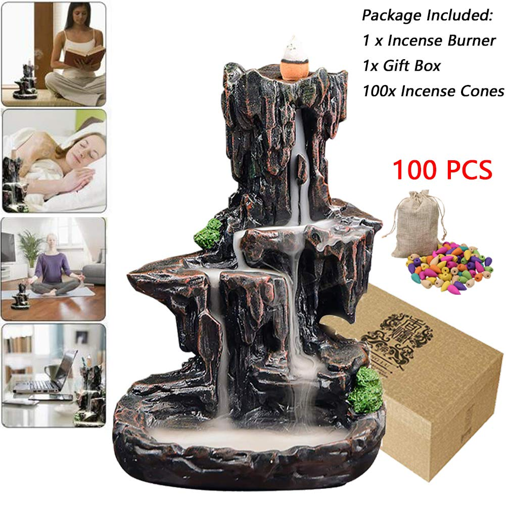 Ceramic Waterfall Backflow Incense Burner Mountain Tower Dragon Incense Holders with 100 Backflow Incense Cones Free for Home Office Yoga Aromatcherapy Ornamen Mountain River Handicraft Incense Holder by Mangold