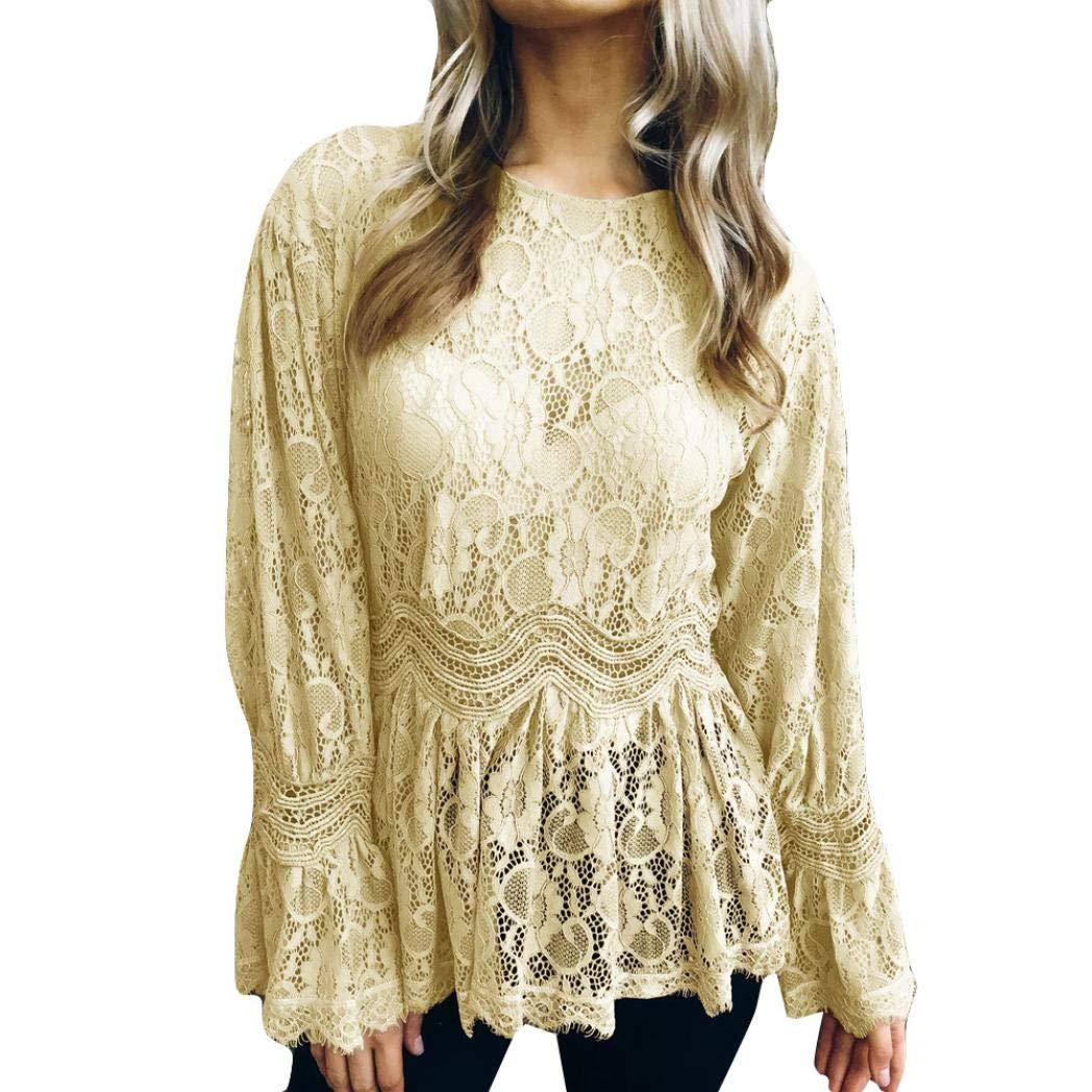 Bafaretk Fashion Womens Blouse Long Flare Sleeve Lace Tops Peplum O-Neck Solid T-Shirt