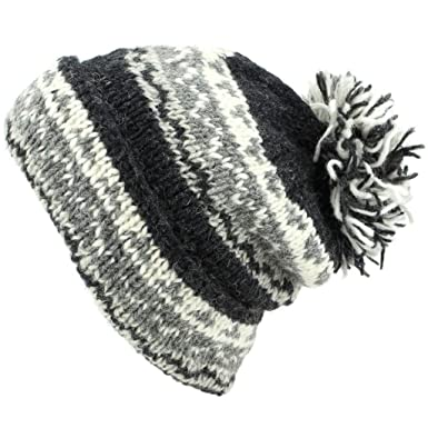 c661c26ecaf LoudElephant Chunky Wool Knit Baggy Slouch Beanie Bobble Hat - Grey ...