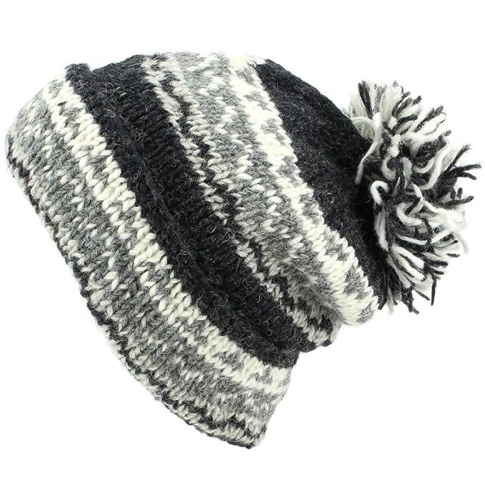 5cda589b262 LoudElephant Chunky Wool Knit Baggy Slouch Beanie Bobble Hat - Grey   Amazon.co.uk  Clothing