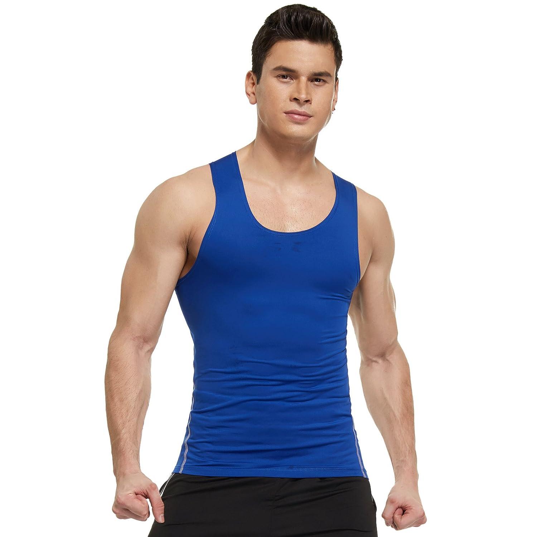 f8e077810727e7 Joyshaper Compression Vest Men Tank Top Quick Dry Fit Sweat Shirt T-Shirt  Tee Activewear Sleeveless Sports Workout Athletic Fitness Running (Blue