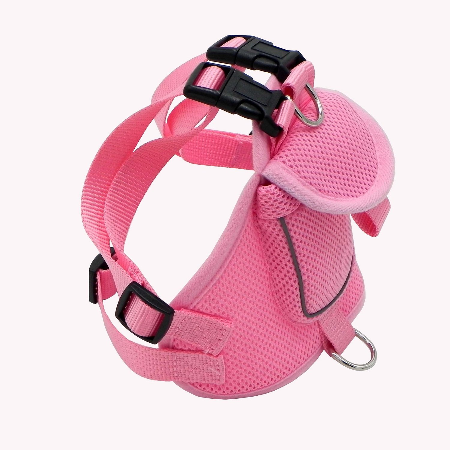 Wellbro Dog Backpack Harness, Small Mesh Dog Vest with Pocket, Soft Padded Pet Saddlebag, Reflective and Adjustable, For Walking, Camping and Hiking (L, Pink)