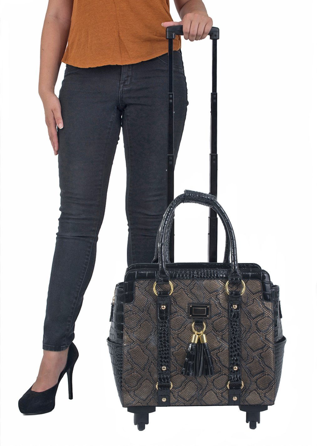 Bronze & Black Python Computer iPad, Laptop Tablet Rolling Tote Bag Briefcase Carryall Bag with Spinner Wheels by JKM and Company