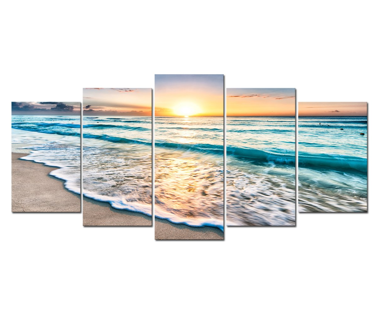Cao Gen Decor Art-S58829 5 Panels Framed Wall Art Sunset Ocean Printed on Canvas Stretched and Framed Seascape Pictures Prints for Home Office Decorations Large Artwork