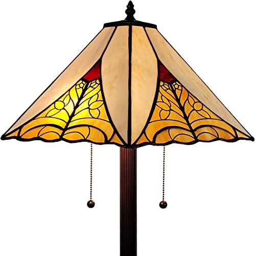 Amora Lighting Tiffany Style Floor Lamp Mission Standing 63″ Tall Stained Glass Tan Red Yellow Antique Vintage Light Decor Bedroom Living Room Reading Gift AM259FL18B