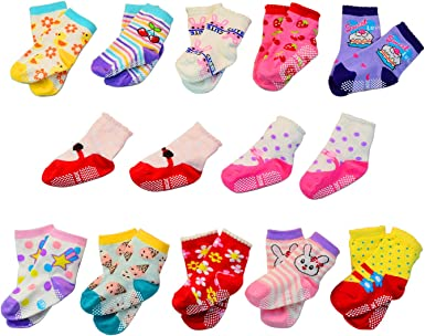 MAYBOX 12 Pairs Assorted Non-Skid Ankle Cotton Socks Baby Girl Socks Toddlers Crew Baby Socks with Grip