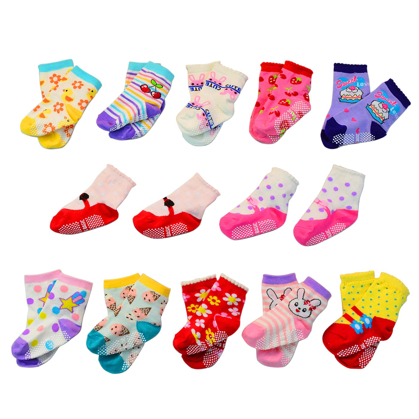 Lystaii 12 Pairs Anti-slip Soft Cotton Baby Kid Socks for 1-3 /12-36 Months Years Baby 3.5''-4.7'' Cute Cartoon Boys Girls Toddler Socks Random Color Non-Skid Knit Infants Socks Lyt606