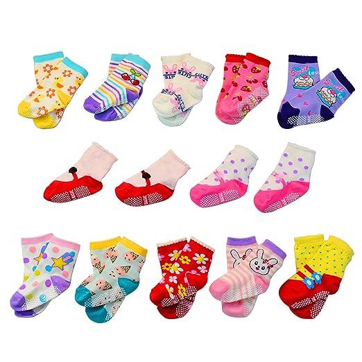 0fd9ca572 Amazon.com  Lystaii 12 Pairs Anti-slip Soft Cotton Baby Kid Socks ...