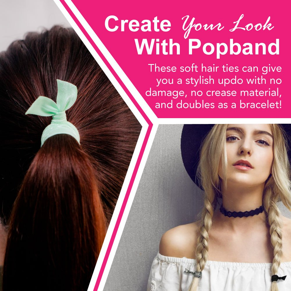 Popband Solid Colour Ponytail Holder Hair Bands/Ties 5 Pack   Ink:  Amazon.co.uk: Beauty
