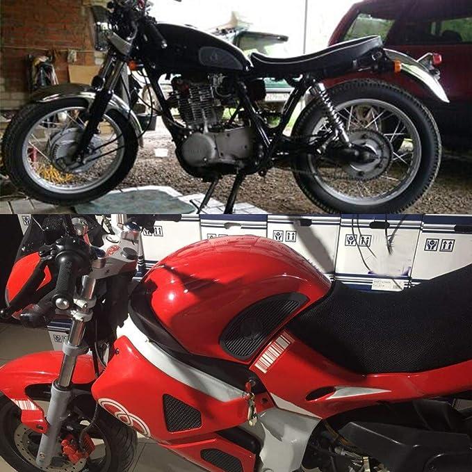 C-FUN Coppia Moto Cafe Racer Serbatoio del Carburante Tappo Pad Protector Gomma Decalcomania Adesivo Universale Nero
