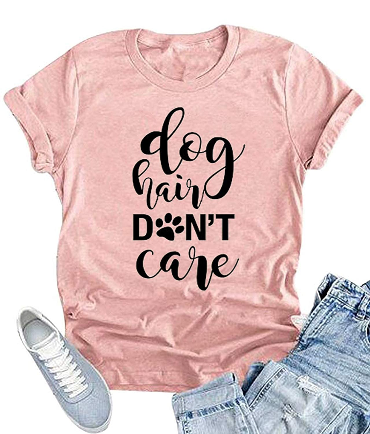 Dog Hair Don't Care T-Shirt Women's O-Neck Casual Short Sleeve Tee Funny Tops