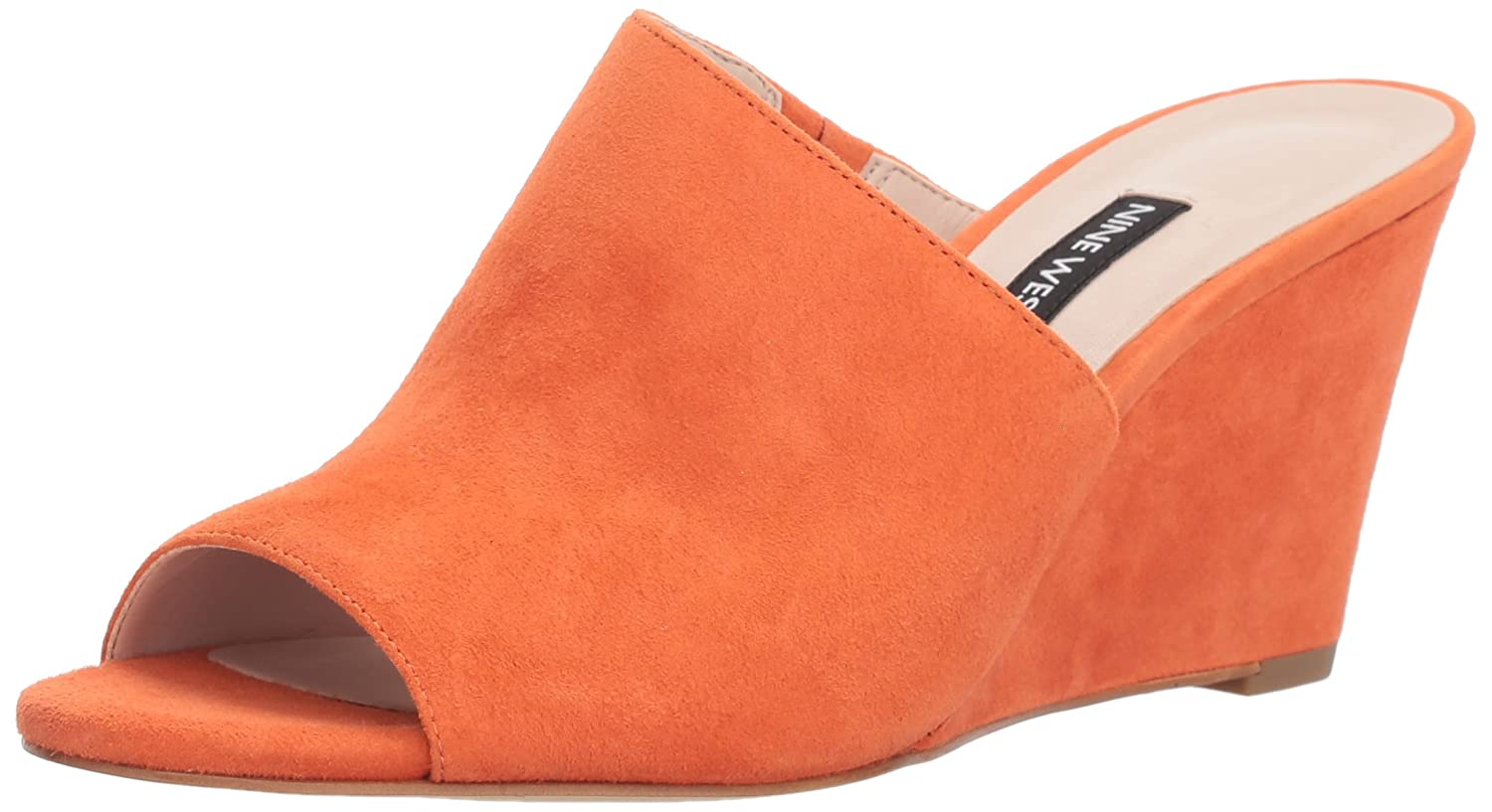 Nine West Women's Janissah Slide Sandal B079P5ZQ27 6 B(M) US|Orange Suede
