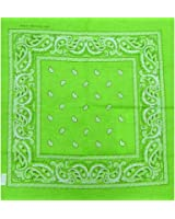 "Bandanas By The Dozen 100% Cotton 12-Pack 22"" x 22"" - Paisley Lime Green"