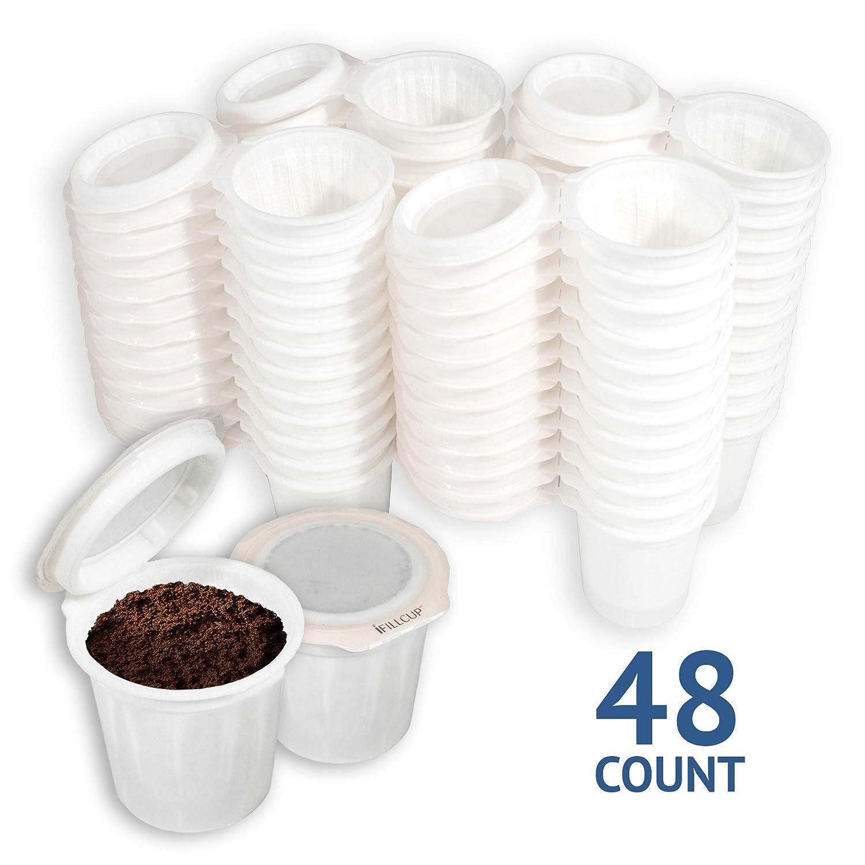 iFillCup 組み立て済みシングルサーブ ポッドを充填 1.0 & 2.0キューリグを含むすべてのKカップコーヒーメーカーで100%リサイクル可能 iFillカップ48個 密閉シール フレッシュなポッド入り   B07N7TBPHL
